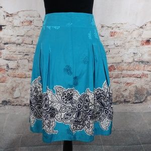 Club Monaco 6 Aqua Paisley Silk Cotton Skirt